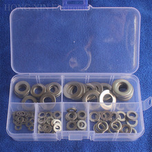 105Pcs/set M3 M4 M5 M6 M8 M10 304 Stainless Steel Flat Washer Plain Washer Gaskets Assortment Metric Flat Gasket Kit Flat Pad sale 364pcs set nylon material black nylon rubber flat ring repair washer gasket for metric m2 m8 wholesale quick delivery csv