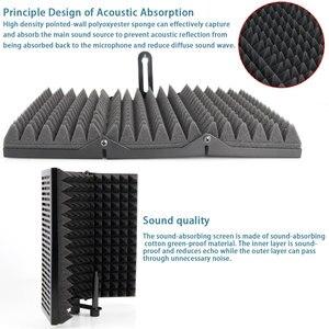 Image 5 - Protector de aislamiento acústico para micrófono plegable, Panel de espuma acústica para grabación en vivo, accesorios para micrófono