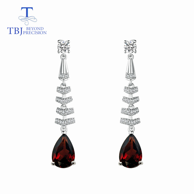 TBJ Long earring with natural 4ct red mozambique garnet 925 sterling silver fine jewelry for girls
