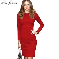 New Arrival 2014 Women Summer Dress Blue Vintage Long Sleeve Formal Wear To Work Evening Party