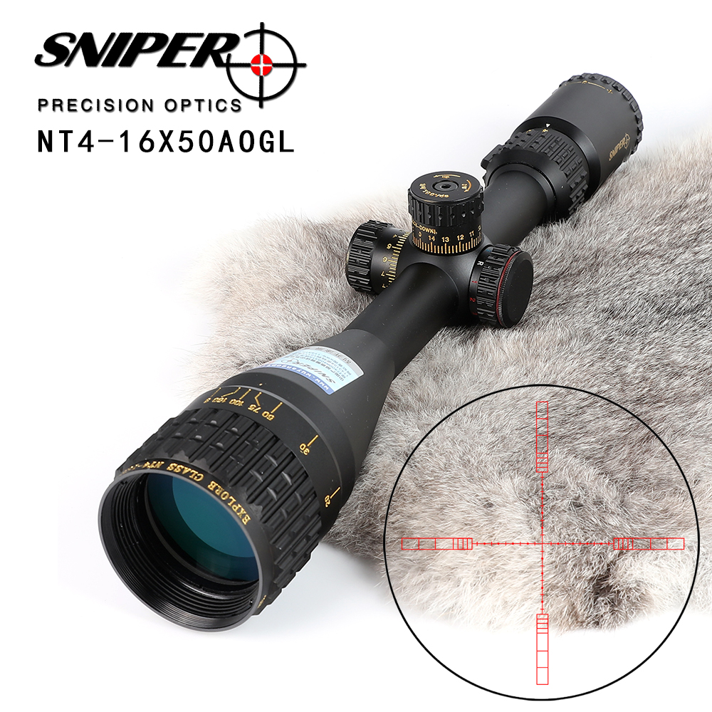 SNIPER NT 4-16X50 AOGL Hunting Riflescopes Tactical Optical Sight Full Size Glass Etched Reticle RGB Illuminated Rifle Scope sniper ck 4 16x50 fpsal hunting rifle scope side parallax adjustment glass etched reticle rg illuminated with bubble level