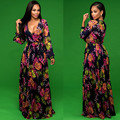 Long Bohemian Dresses Maternity Dresses Deep V-neck Printing Maternity Clothing Pregnant Women on Holiday Beach Dresses BB117