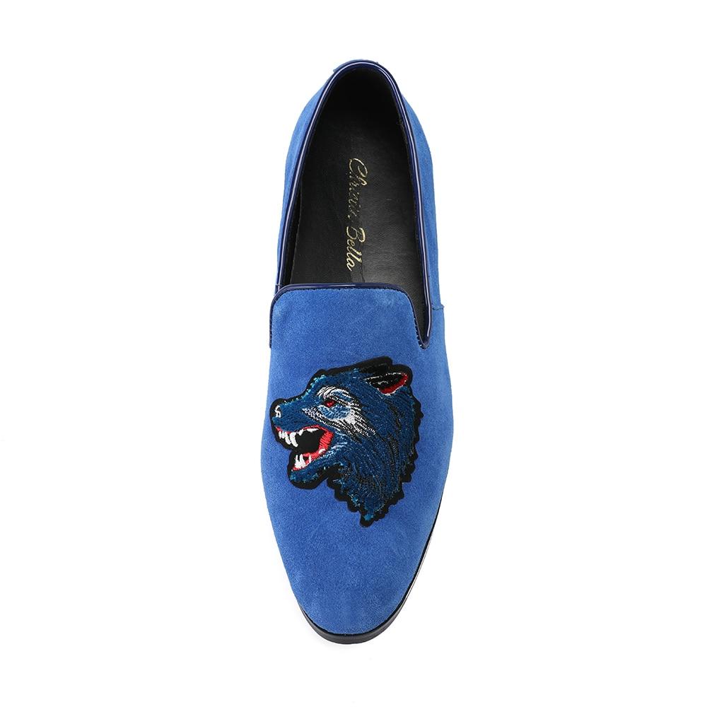 Fumar Slip Lujo Lobo Negro Zapatos Bella Christia Boda Bordado Terciopelo azul Vestido Caqui La Zapatillas Hombres Holgazanes Real on De qwvYIq01x