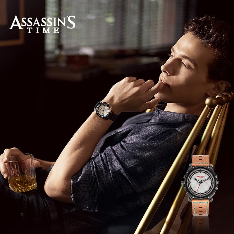 Assissans Time Brand Relogio Masculino Ægte Læder Quart Herre Watch - Mænds ure