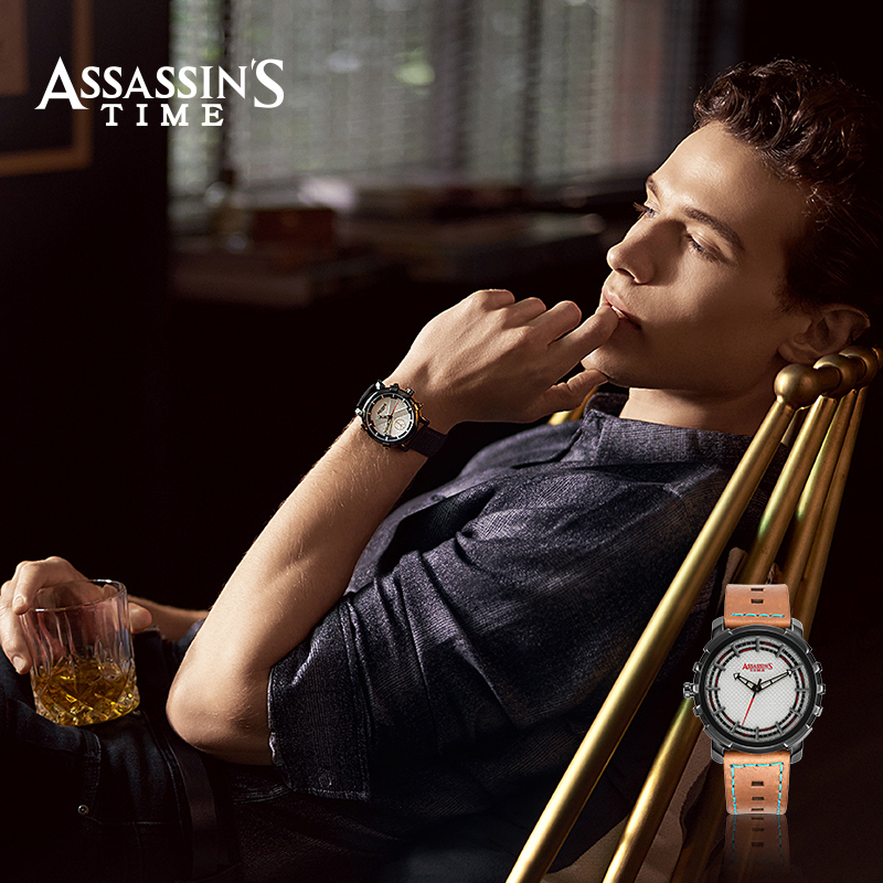 Assissani aeg Brand Relogio Masculino Ehtne nahk Quartz Men Watch - Meeste käekellad