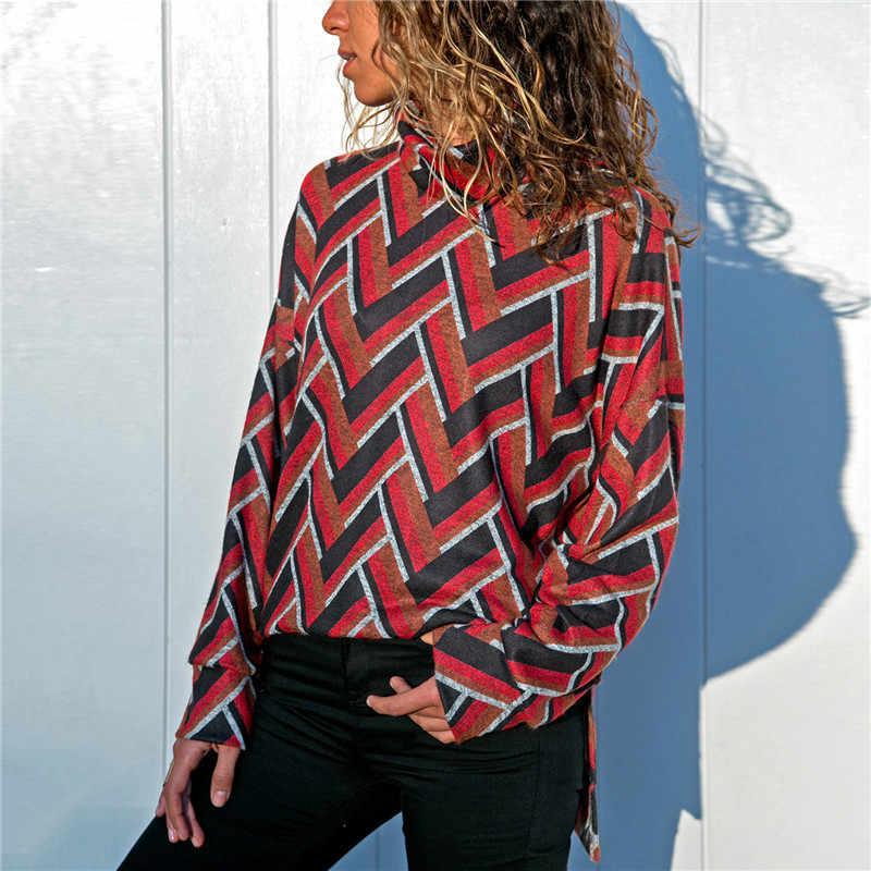 HiloRill 2020 ผู้หญิงฤดูใบไม้ร่วงถักเรขาคณิตพิมพ์Pulloverเสื้อกันหนาวCasual Pulloverจัมเปอร์ดึงFemme