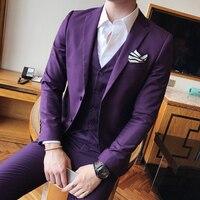 Мужской свадебный смокинг, китайский мужской костюм из 3 предметов с брюками, приталенный, плюс размер, 3XL, черный, фиолетовый, смокинг, жених