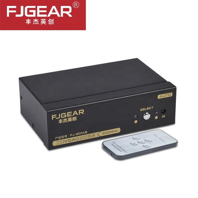 2 Port Vga  Switch 500MHz Durable Round Press Button + IR Controller Two Way VGA Switch Splitter Switcher Resolution 2560x1536