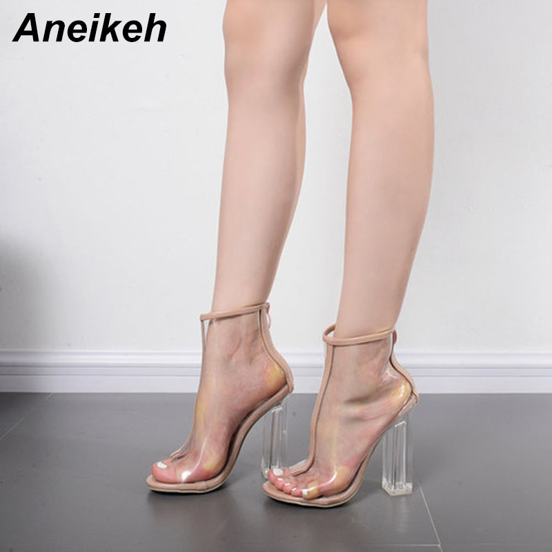Aneikeh 2019 Summer New Fashion Sexy Super High Heel Transparent  Zipper Womens Sandals PU Gladiator Apricot Party Shoes heels