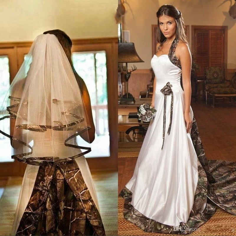 Fashion Camouflage Wedding Dresses 2016 Halter A Line Sweep Train Camo Bridal Dress Sleeveless White Satin Wedding Gowns Lustrous