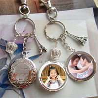 Fashion Locket Keychains With Your Private Custom Photo Lovers Key Chain For Women Men Can Put