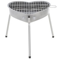 Portable Barbecue Grill With Heart Outdoor Shape Stainless Steel Grill Folding BBQ Grill Firewood Stove Outdoors