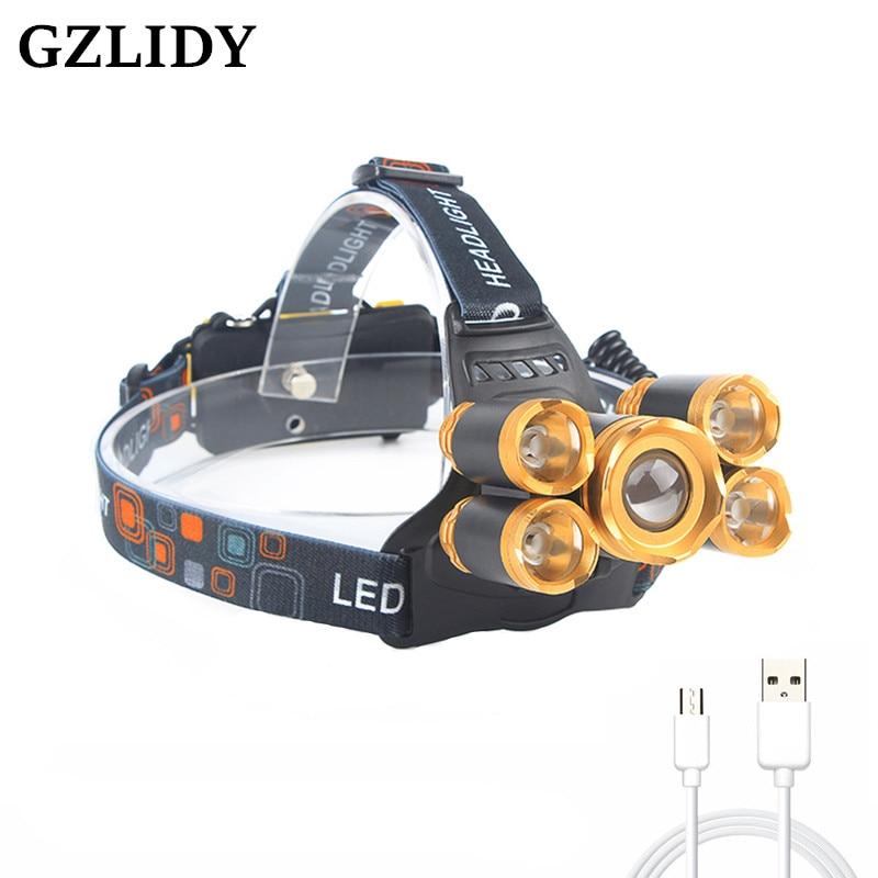 GZLIDY T6 + XPE LED Tête Lampe Zoomables Phare 5 led Phare Tube Torche LED lampe de Poche + câble USB