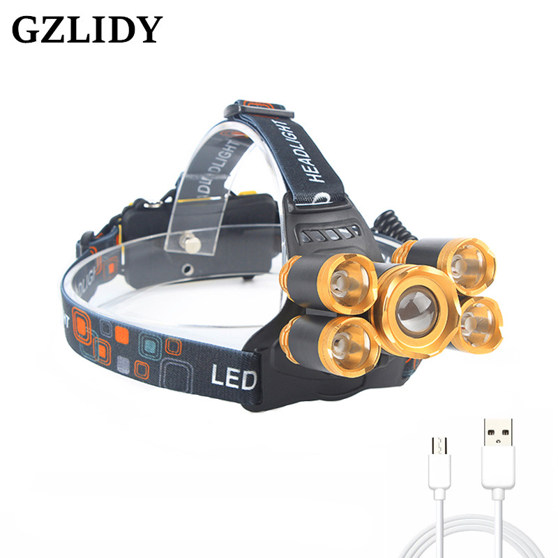 Gzlidy T6 + XPe LED lámpara principal zoomable 5 leds faro tubo antorcha linterna llevada + cable USB