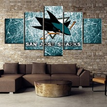 HD Print Modular 5 Piece Canvas Art Ice Hockey Sport Logo Poster Paintings on Wall for Home Decorations Decor