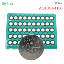 50PCS G10 Button Batteries AG10 LR1130 1130 SR1130 389A LR54 L1131 189  75mAh Capacity 1.5V  Battery батарейка camelion lr1130 g10 bl 10 ag10 bp10 1 штука