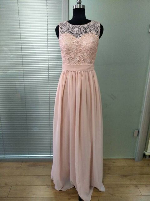 Honey Qiao Bridesmaid Dresses Blush Pink Chiffon Illusion Neck D Sash Lique Lace Vintage Maid