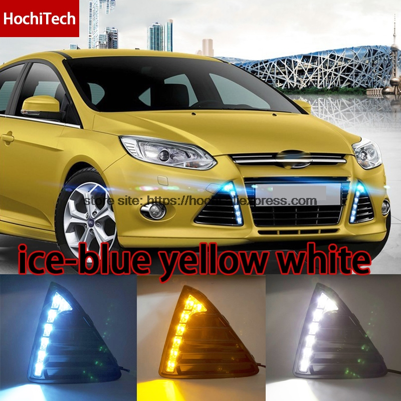 High quality 3 colors white yellow ice blue LED Car DRL Daytime running lights fog light turning for Ford Focus 3 2012 2013 2014 high quality h3 led 20w led projector high power white car auto drl daytime running lights headlight fog lamp bulb dc12v
