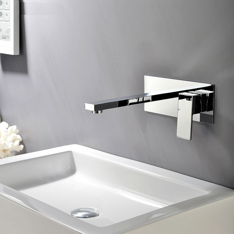 copper cold concealed faucet with embedded box into the wall on the stage of single basin faucet