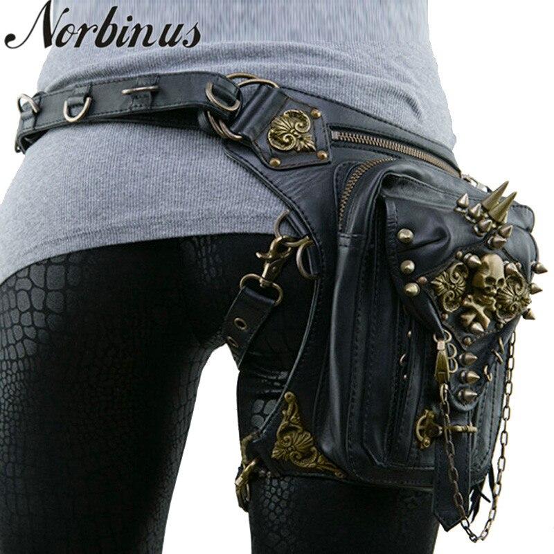 Norbinus Steampunk cuir femmes taille sac rétro Rock goutte jambe sac hommes moto bandoulière sacs à bandoulière crâne Rivet poche nouveau
