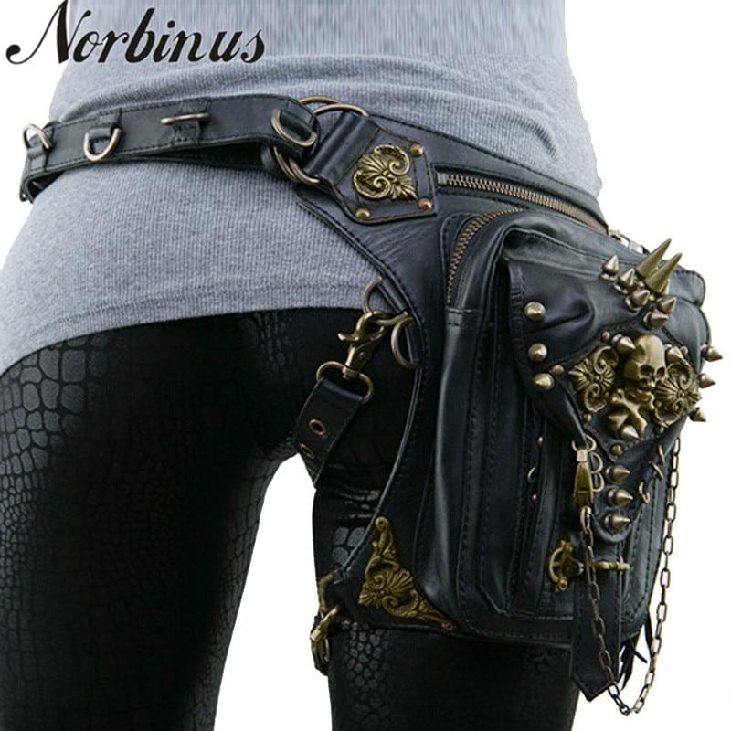 Norbinus couro rebite mulheres gota perna saco steampunk retro rock cintura cinto saco masculino motocicleta crossbody sacos de ombro bolsa telefone