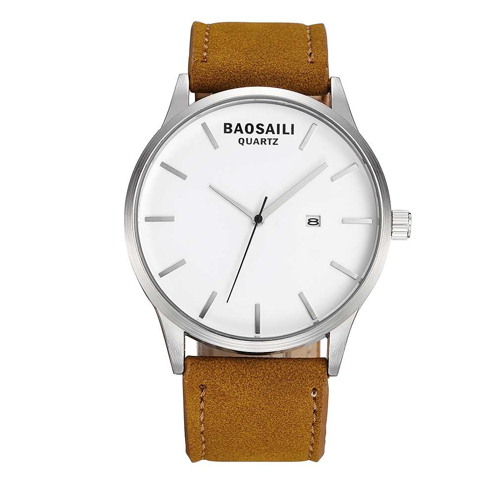 BAOSAILI Fashion Casual Mens Watches Top Brand Luxury Leather Business Quartz-Watch Men Wristwatch Relogio Masculino bs1038 watch repair tool kits watches wristwatch back cover case opener remover battery change watchmaker repair tool kit set