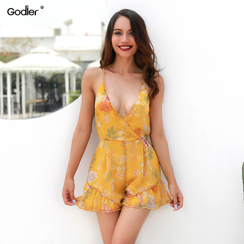 Godier Women Summer Playsuits Sexy Lady Deep V-neck Backless Jumpsuit Shorts Rompers Floral Printed Ruffles Playsuits