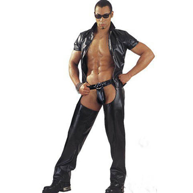 b77ba7a39a90 Men s Sexy Onesies Erotic PVC Nightwear Faux Leather Jumpsuit Potent  Masculinity Wet Looking Intimate Wear Size
