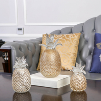 Creative crystal pineapple miniature figurines glass plant fruit Arts and Crafts wedding Gifts fashion home decor accessories