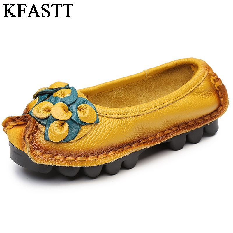 KFASTT Soft Flat Flat Flat Bottom Folk Pelle scarpe Sandalo Genuine Casual   5d112e