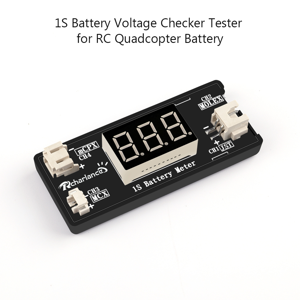 1S LiPo Battery Voltage Checker Tester with JST MCX PH 2.0 and Micro Losi Cable for Drone Quadcopter Battery RC Parts image