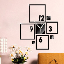 Geometric square digital wall clock Bedroom living room fashion decoration silent quartz mirror sliver gold