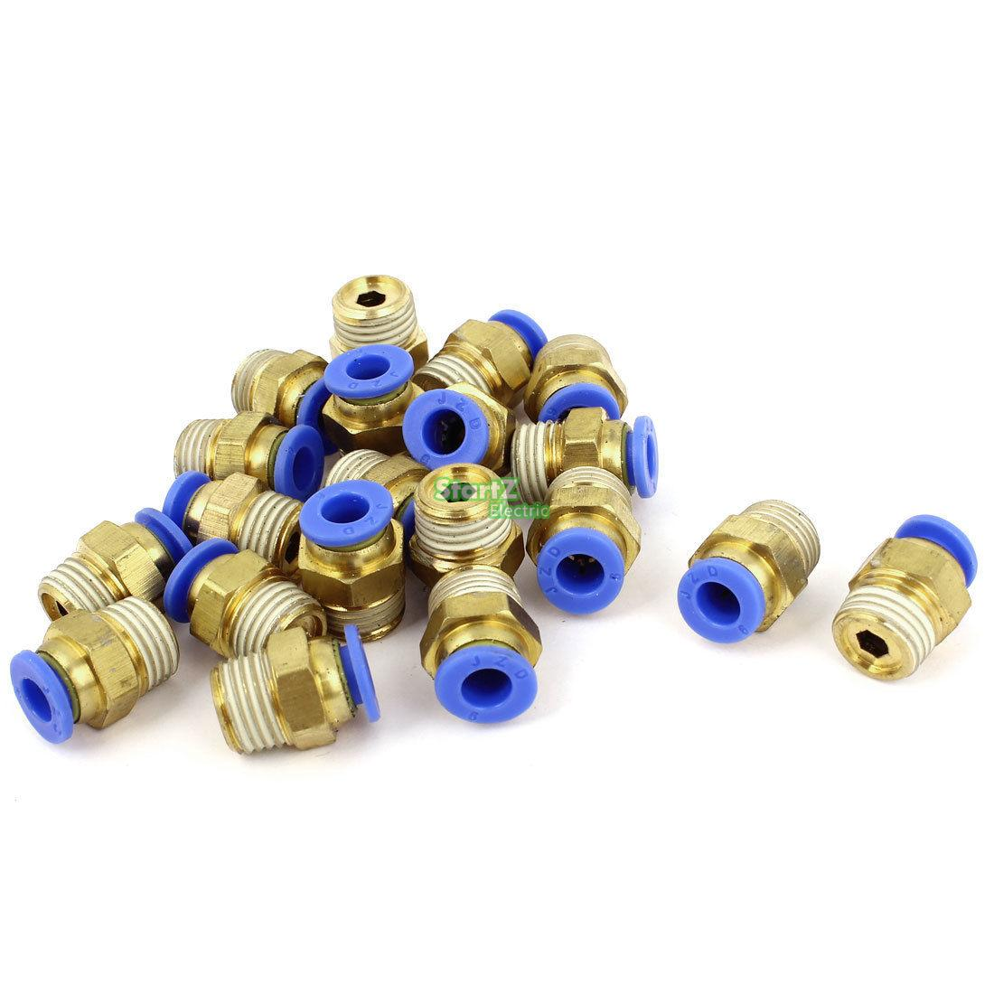 6mm Tube 1/4BSP Male Thread Quick Connector Pneumatic Air Fittings 20 Pcs 9 pcs 3 8 pt male thread 8mm push in joint pneumatic connector quick fittings