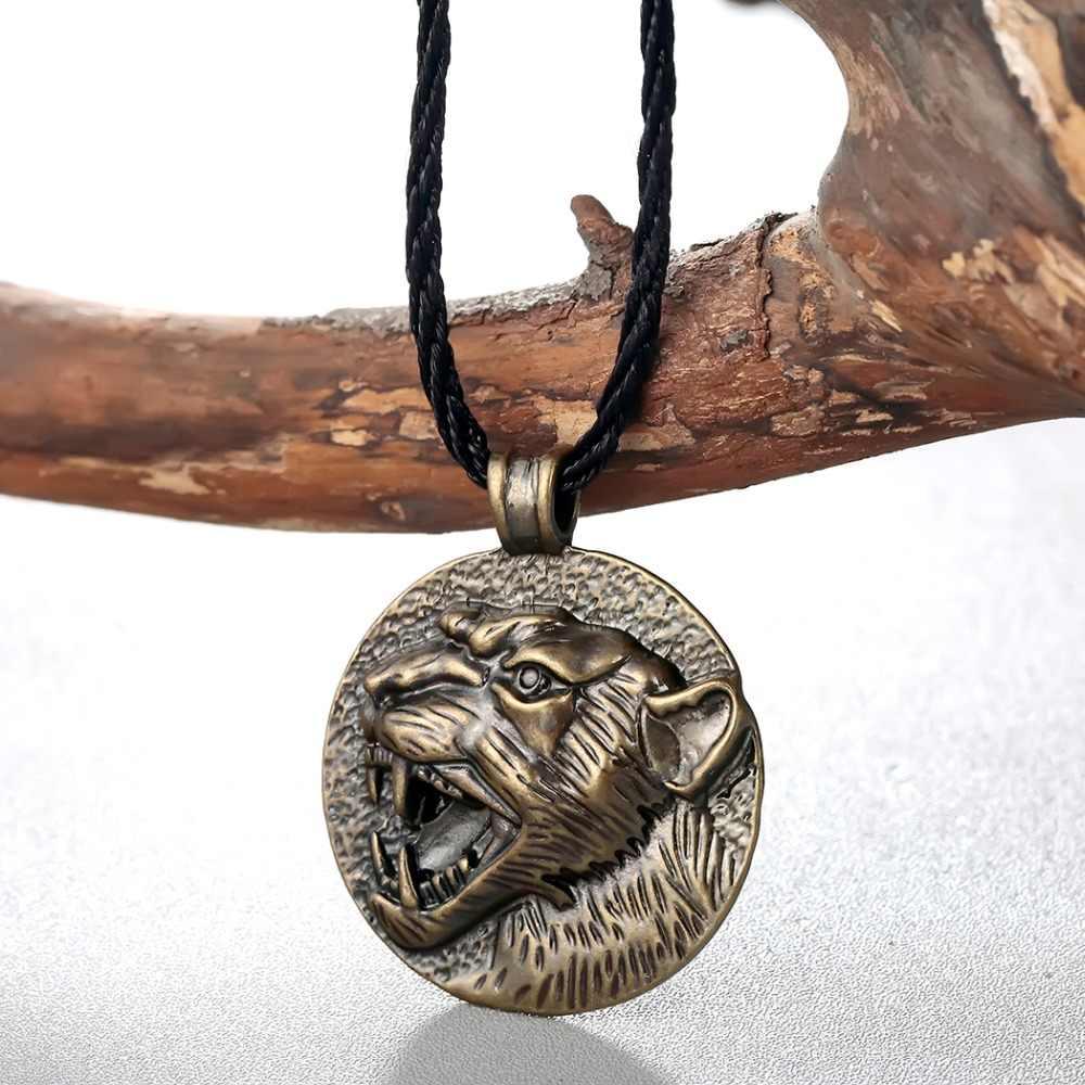 10 Buah/Banyak Nordic Kolovrat Slavia Kalung Pria Perunggu Serigala Hewan Pesona Jimat Simbol Viking Perhiasan Wanita Kalung