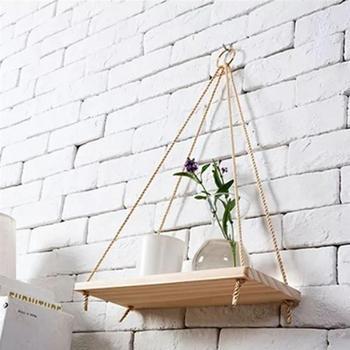 подвесные полки для корзин   2 предмета Креативный цветочный горшок подвесной стеллаж для хранения веревочная полка деревянная корзина настенные украшения
