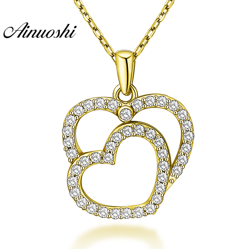 AINUOSHI 10K Solid Yellow Gold Pendant Heart Pendant SONA Diamond Women Men Lovers Jewelry Double Heart Design Separate Pendant корпус miditower atx w o psu mcb e500lka5ns01 cooler master