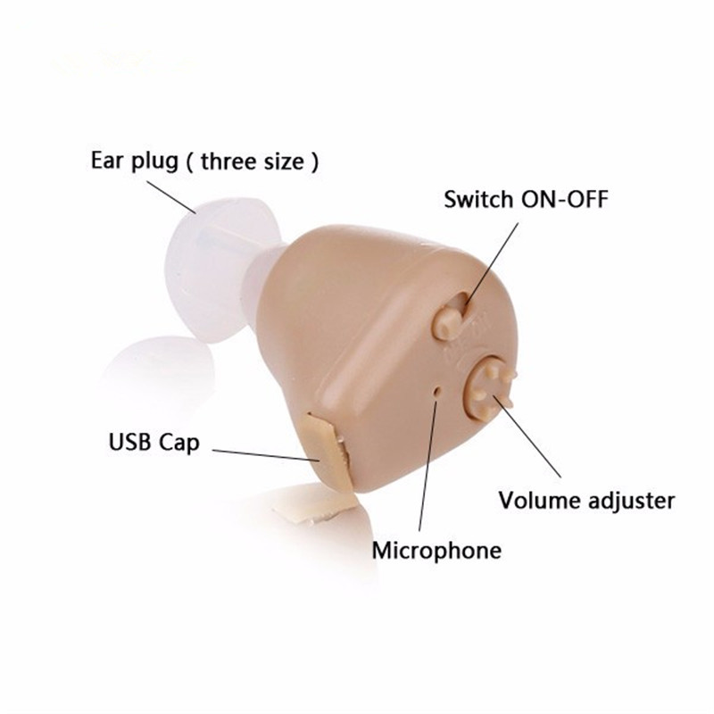 Top Quality Ear Hearing Aid New Rechargeable ITE Portable Earphone In The Canal for Deaf S 216 aides auditives Free Shipping