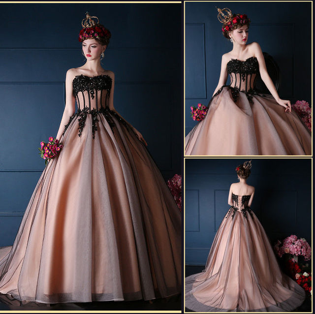 Romantic Black Pink Tulle Wedding Dresses Beading Lace Bridal Gown ...