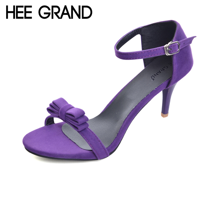 HEE GRAND 2017 Sexy Bow tie Thin High Heels Summer Gladiator Sandals  Wedding Shoes Woman For bce7e370fc40