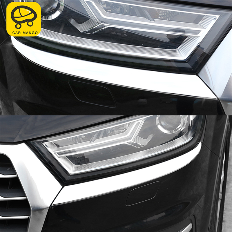 CAR MANGO Car Styling Front Light Lamp Headlight Cover Trim Frame Sticker Exterior Accessories for Audi Q7 2016