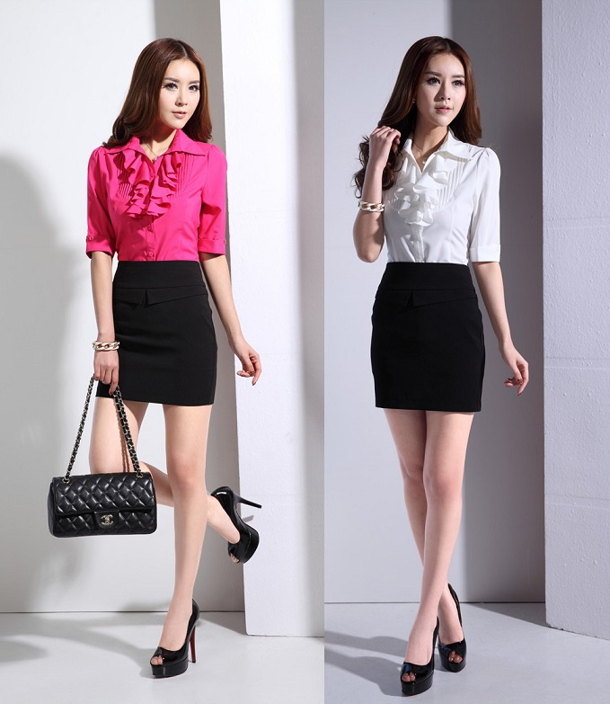 2015 Summer Short Sleeve Formal Uniform Design Office Suits Blouse ...