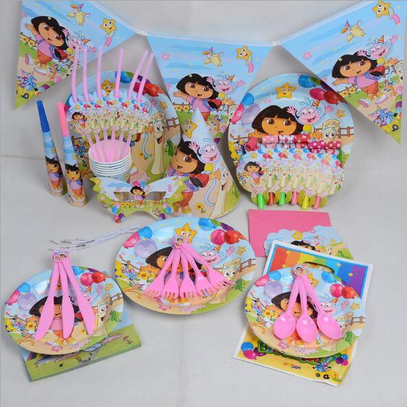Dora Theme Tableware Set Birthday Party Decoration Kids Balloons