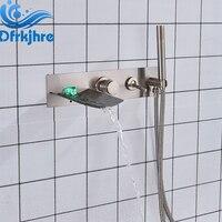 Ванная комната настенный латунь матовый Никель светодио дный Водопад ванна Наполнитель кран с ручной душ