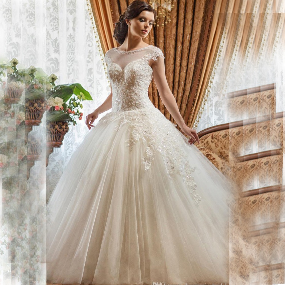 2015 charming lace wedding dresses ball gown vintage plus for Plus size beaded wedding dresses