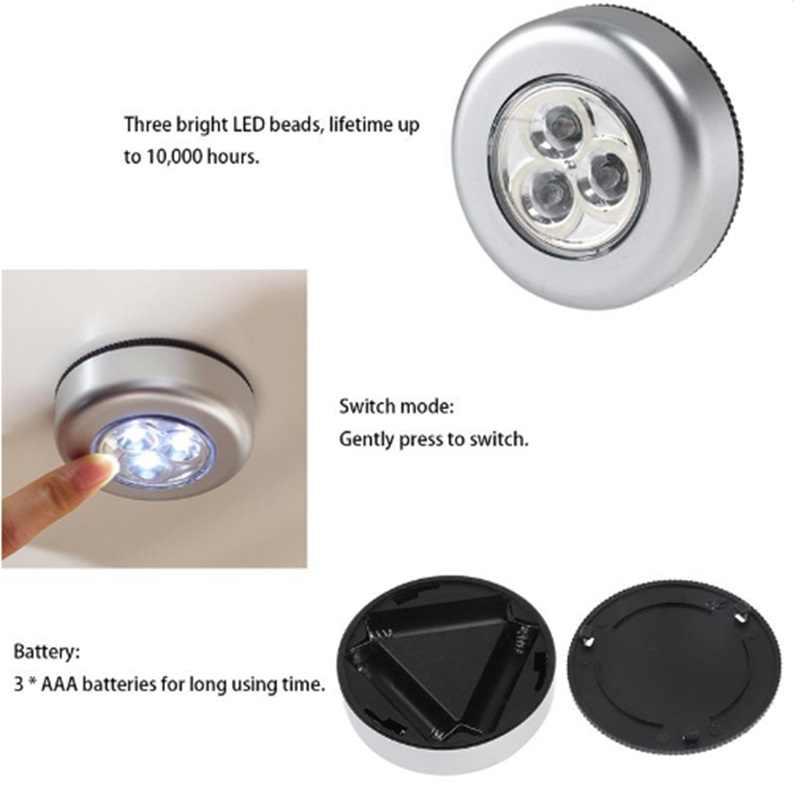 1 Uds 3 LED luz de pared cocina blanca lámpara adhesiva toque bajo el armario lámpara pequeña AAA con pilas luces nocturnas