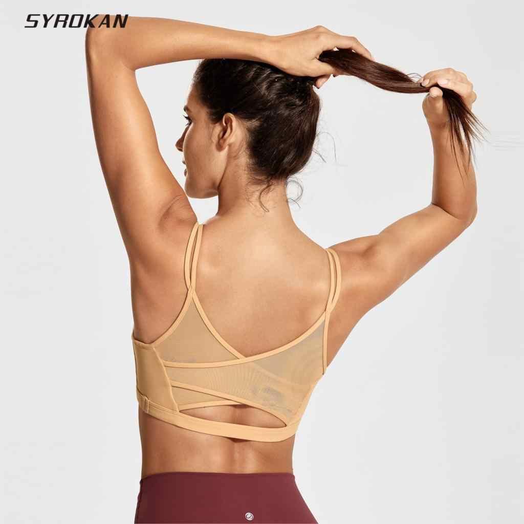 SYROKAN المرأة شبكة عودة Wirefree أكواب للإزالة السباغيتي حزام الصدرية حمالة صدر رياضية لليوغا
