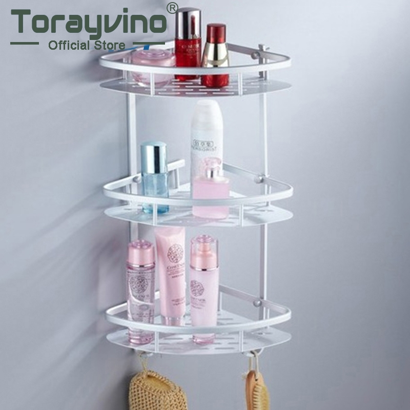 Torayvino Bathroom Shelf Space Aluminum Three Layer Wall Mounted Shower Shampoo Soap Cosmetic Shelve Bathroom Accessories