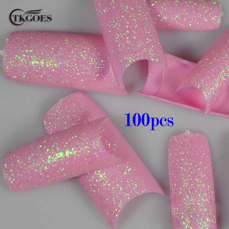 TKGOES 100PCS Beauty Pink French Glitter Nail Tips Pre Design ...