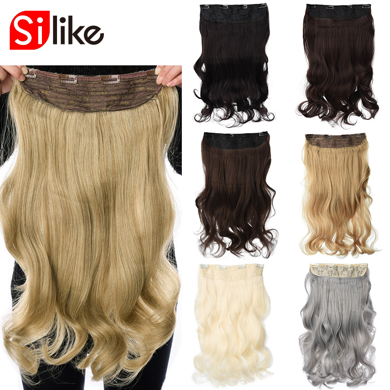 Silike 190g ondulado grampo em extensões de cabelo cinza 24 polegada 17 cores disponíveis sintético resistente ao calor da fibra grampo de extensão do cabelo
