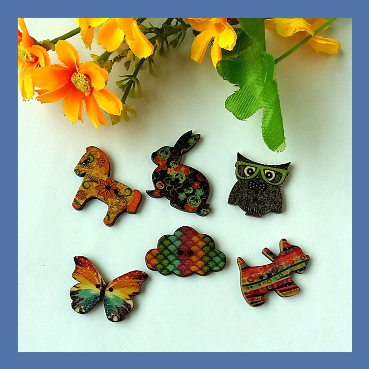 50pcs 25 35mm large wood buttons mixed pattern cartoons for Decorative buttons for crafts